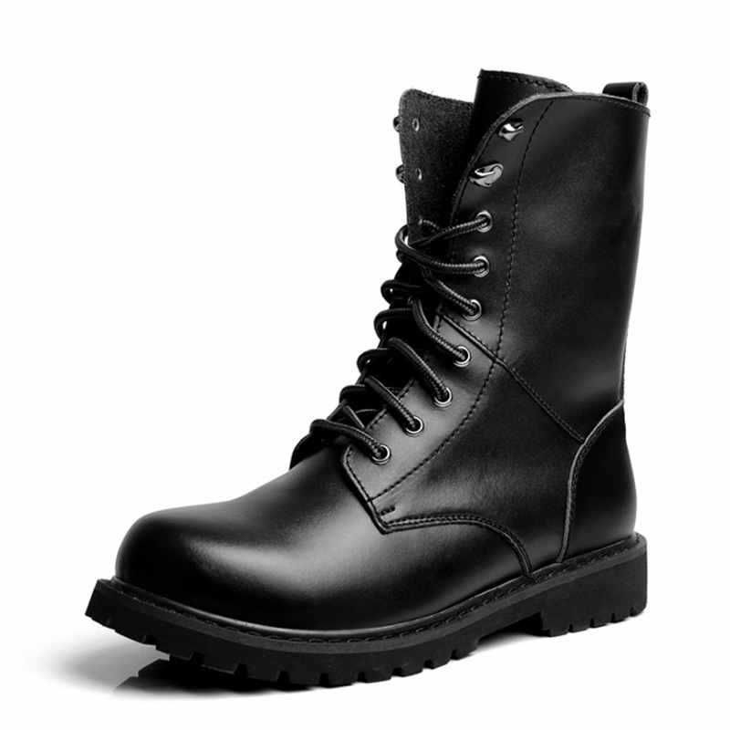 Brand New Fashion Winter Design Black Men Leather Motorcycle Boots ...