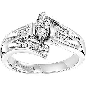 14k white gold Solitaire style Keepsake ring