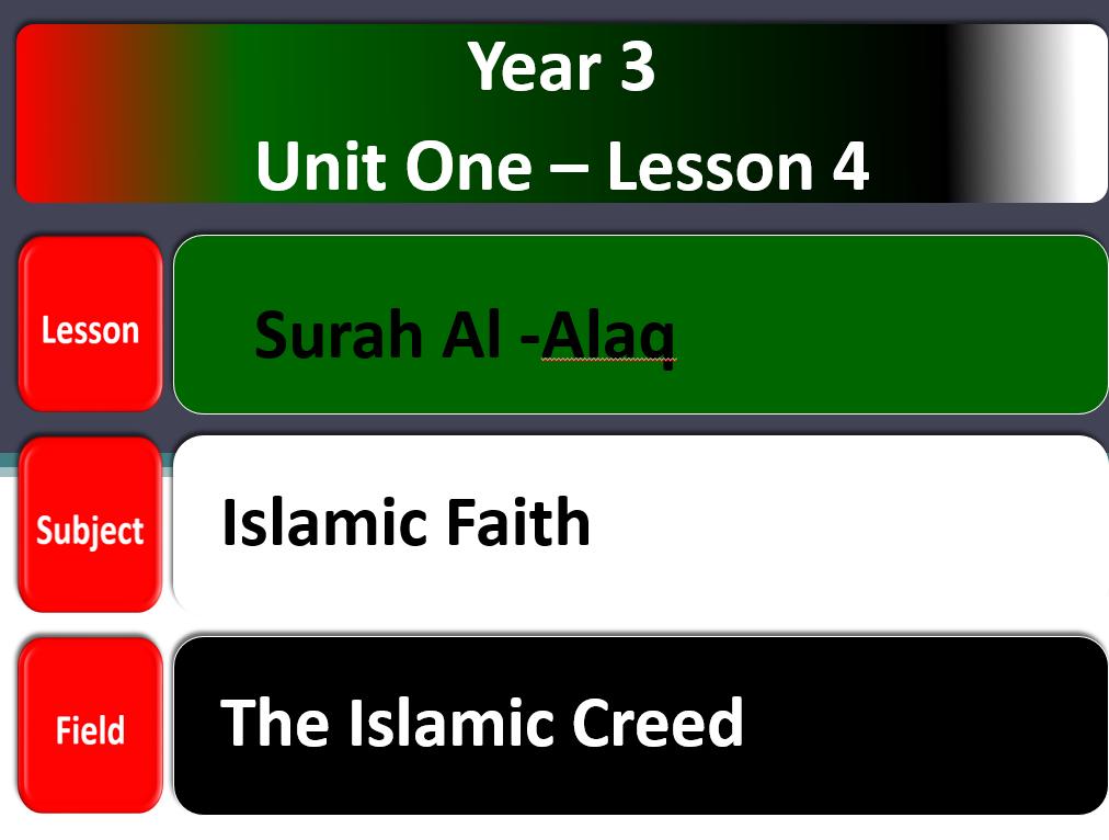 بوربوينت سورة العلق لغير الناطقين باللغة العربية للصف الثالث مادة التربية الاسلامية Lesson Creed Faith