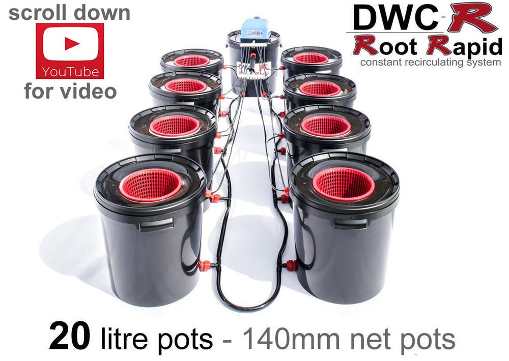 Details about 8 POT RDWC ROOT RAPID DEEP WATER CULTURE DWCR