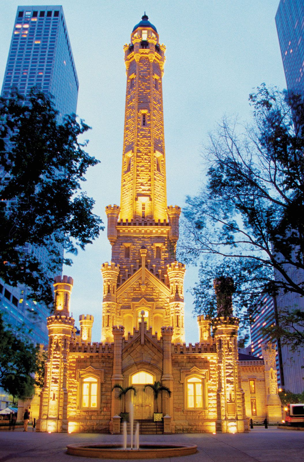 Water Tower Place Chicago Usa. Dusk Cities Night