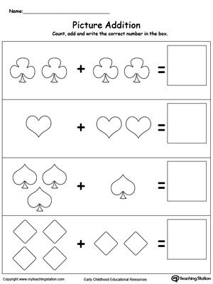 Addition With Pictures Shapes Addition With Pictures Counting Worksheets For Kindergarten Beginning Math Simple addition to worksheets