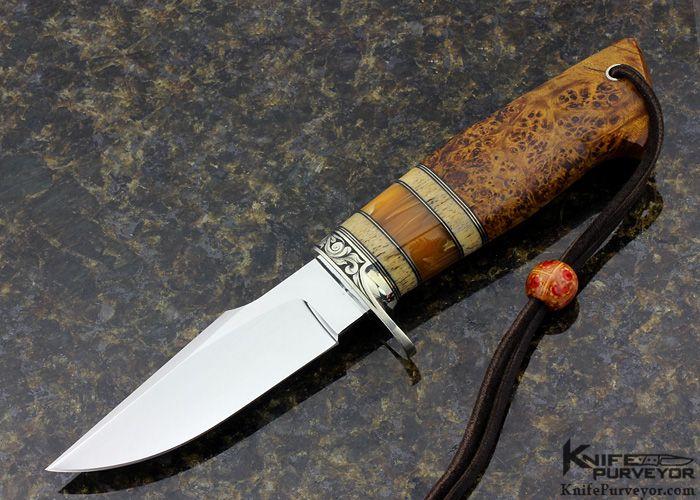 D'Holder Engraved by Pat Holde Custom Knife Redwood Burl Clip Blade Hunter - D'Alton Holder custom knife - image 1