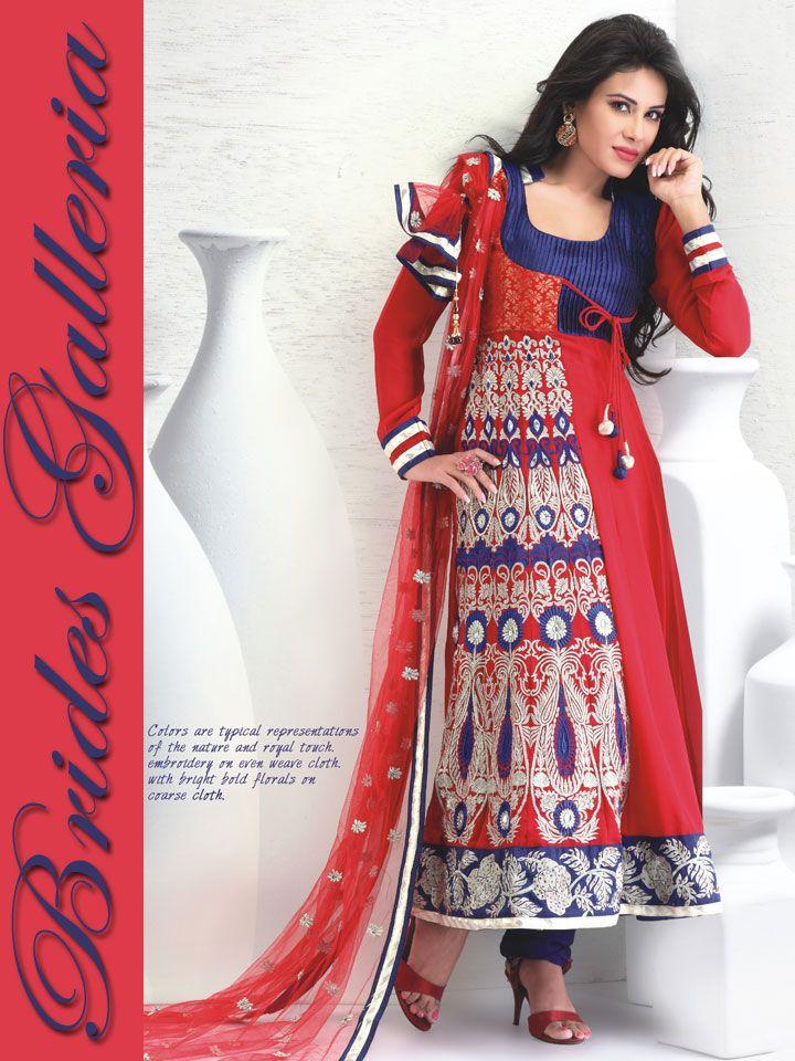 Red Faux Georgette Flair Churidar Kameez : Latest Designer Sarees , Anarkali Suits, Salwar Kameez with