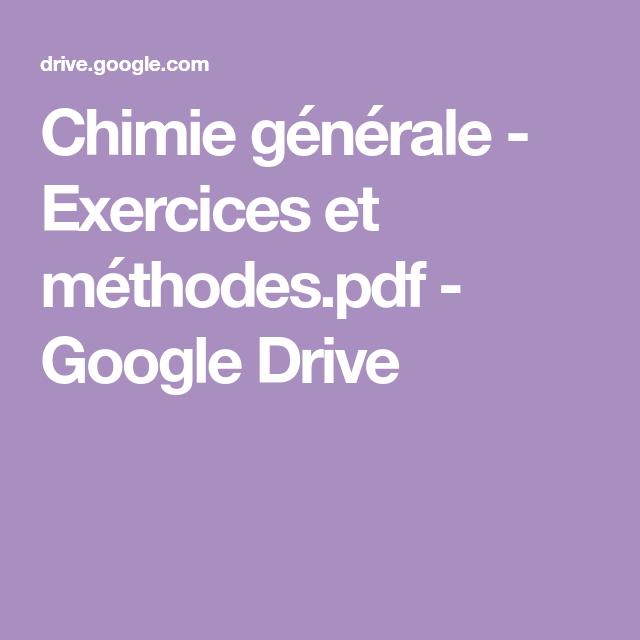 Chimie Generale Exercices Et Methodes Pdf Google Drive Lockscreen