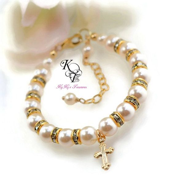 Gold Baptism Bracelet Keepsake Gift Gold Baby by KyKysTreasures