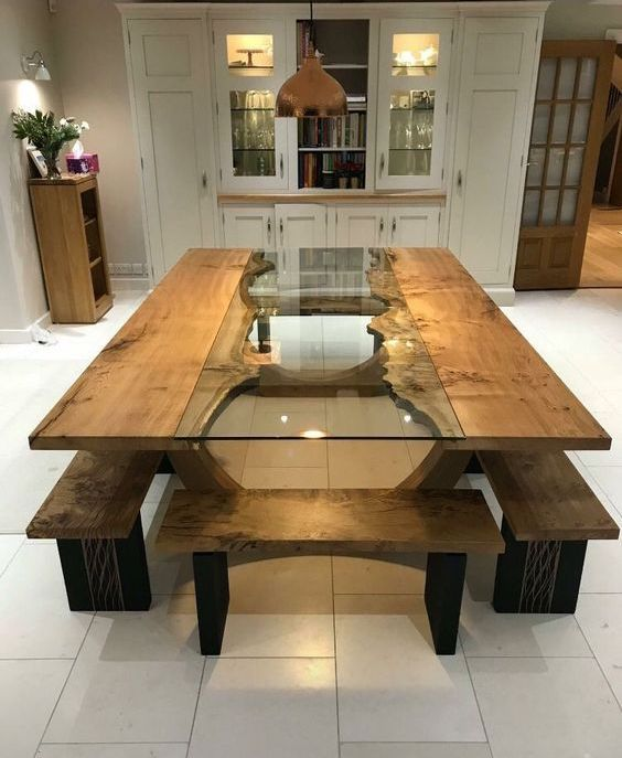 35 Unbelievable Wood And Epoxy Dining Tables Wooden Dining Table