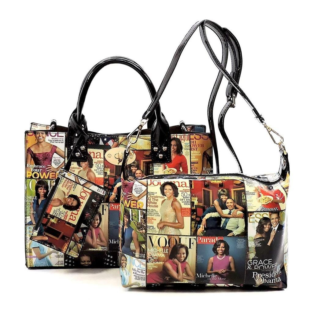 b65a55292459 Glossy magazine cover collage crossbody bag purses Michelle Obama mini  handbag 3pcs set