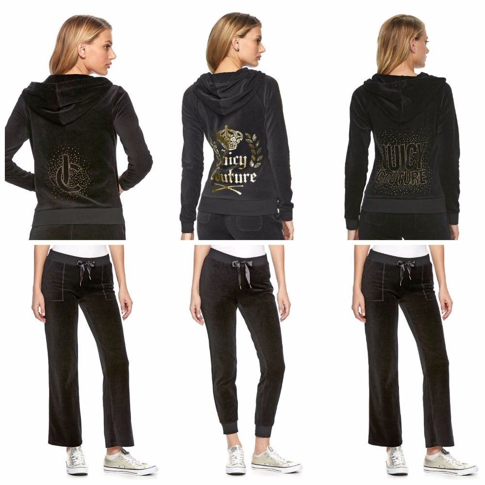 44525c92929b Cozy comfort meets signature Juicy Couture style in this women s velour  hoodie jacket. Relax in style with these women s velour jogger pants from  Juicy ...