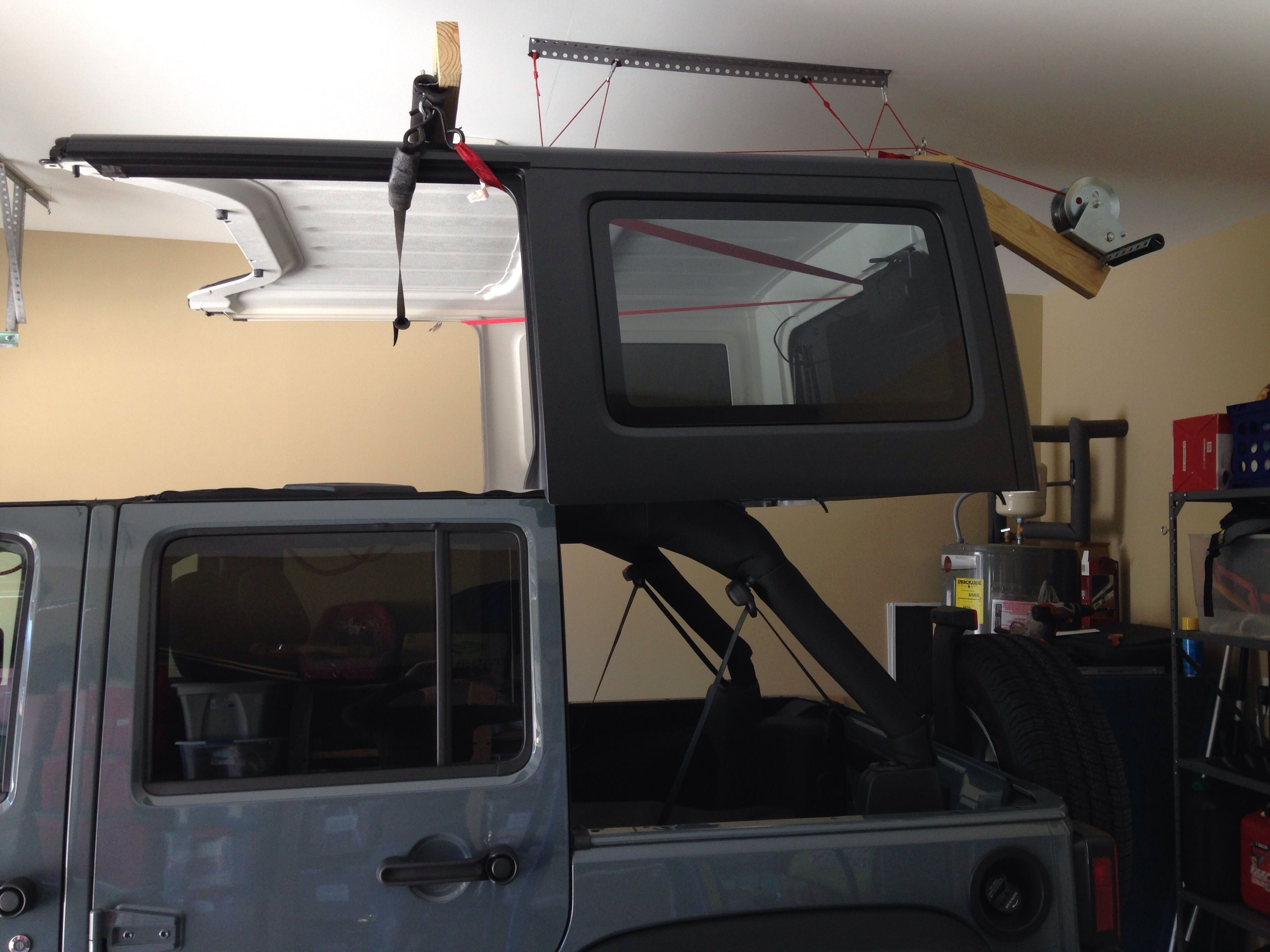 Best Homemade Hardtop Lift Jeepforum Com Diy Jeep Jeep Tops