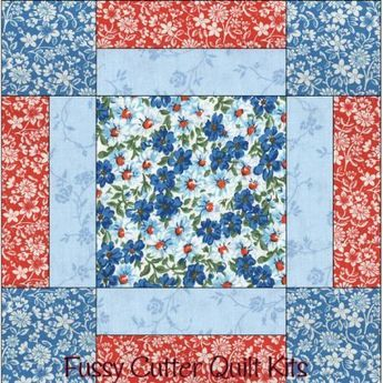 Turquoise Blue Red Flowers Floral Fabric Easy Beginner Pre-Cut ... : pre cut quilt patterns - Adamdwight.com