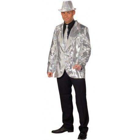 0fa0b768101ef Déguisement veste disco argent à paillettes homme