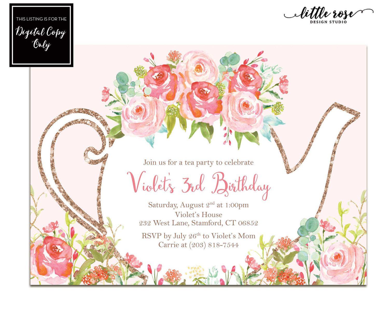 Girls Tea Party Birthday Party Invitation Kids Garden Tea Party