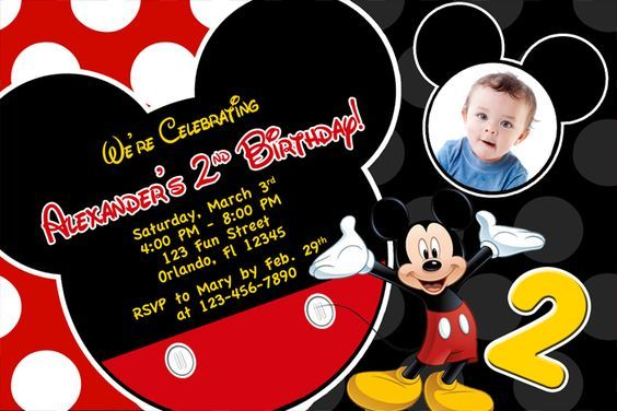 Free Printable Mickey Mouse 2nd Birthday Invitations jax