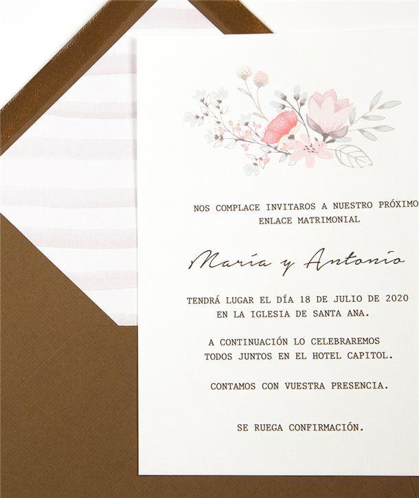Invitación y sobre Jardín Blanco Vintage