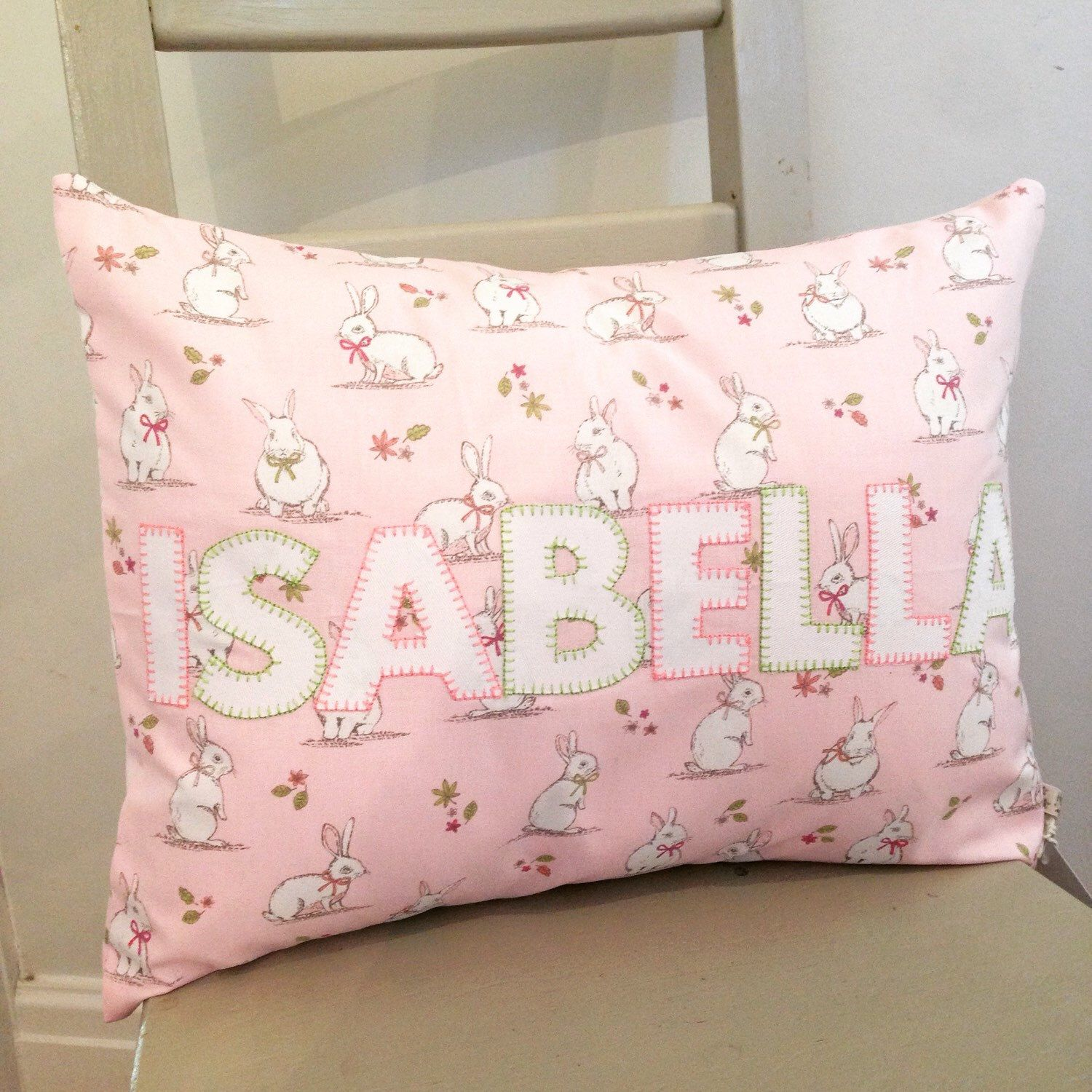 Items Similar To Bunny Cushions Personalised Nursery Decor Baby Gift Name Initials Letter Personalized Home Pillow On Etsy