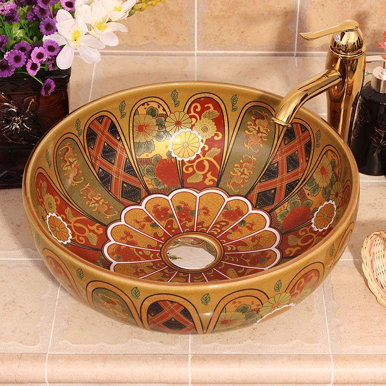 Vintga Europe Luxury Lotus Petal Bathroom Vanitie Chinese Jingdezhen Art Counter Top Ceramic Small Size Wash Basin Counter Bathroom Sink Design Bathtub Remodel New top ceramic bathroom size