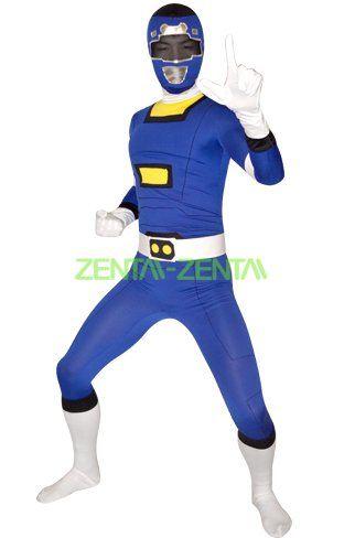 9e38cebc5 Power Rangers Turbo Costume   Blue Spandex Lycra Full Bodysuit ...