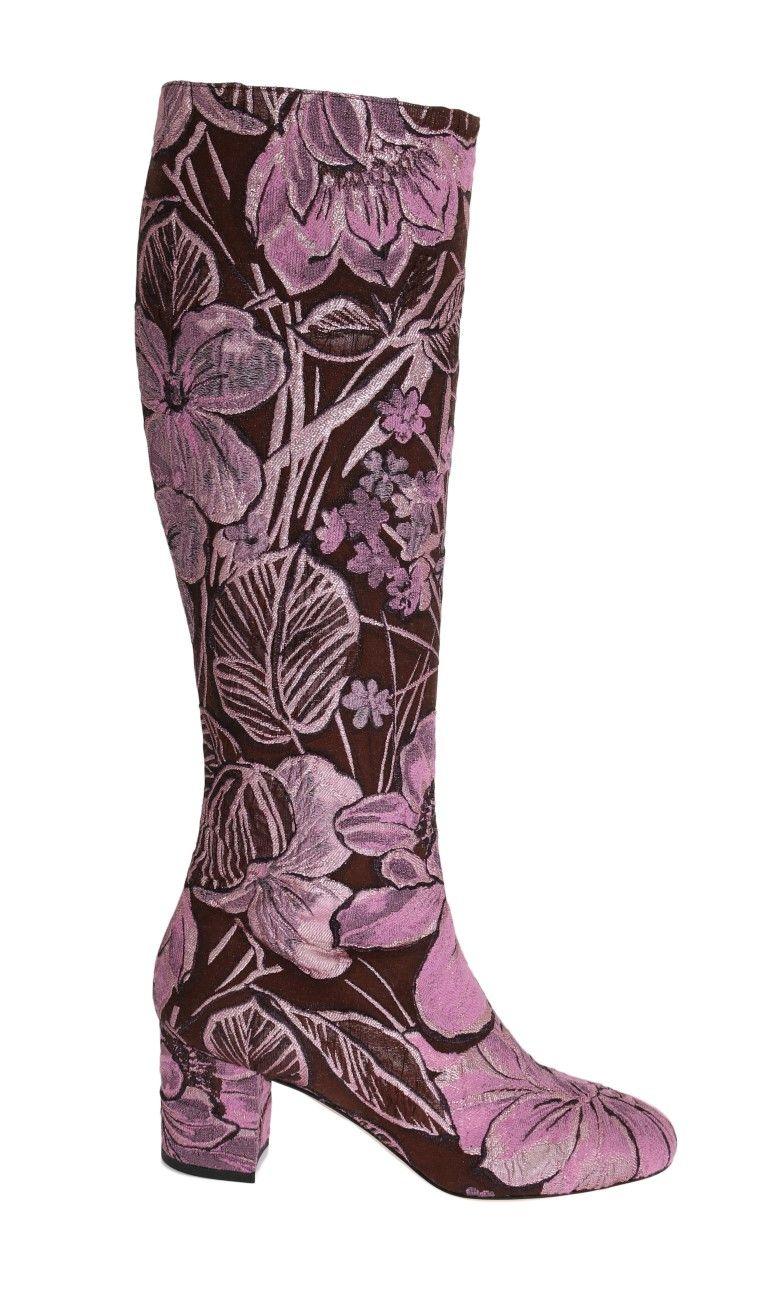 Dolce & Gabbana Purple Pink Jacquard Floral Boots | Brands Vice