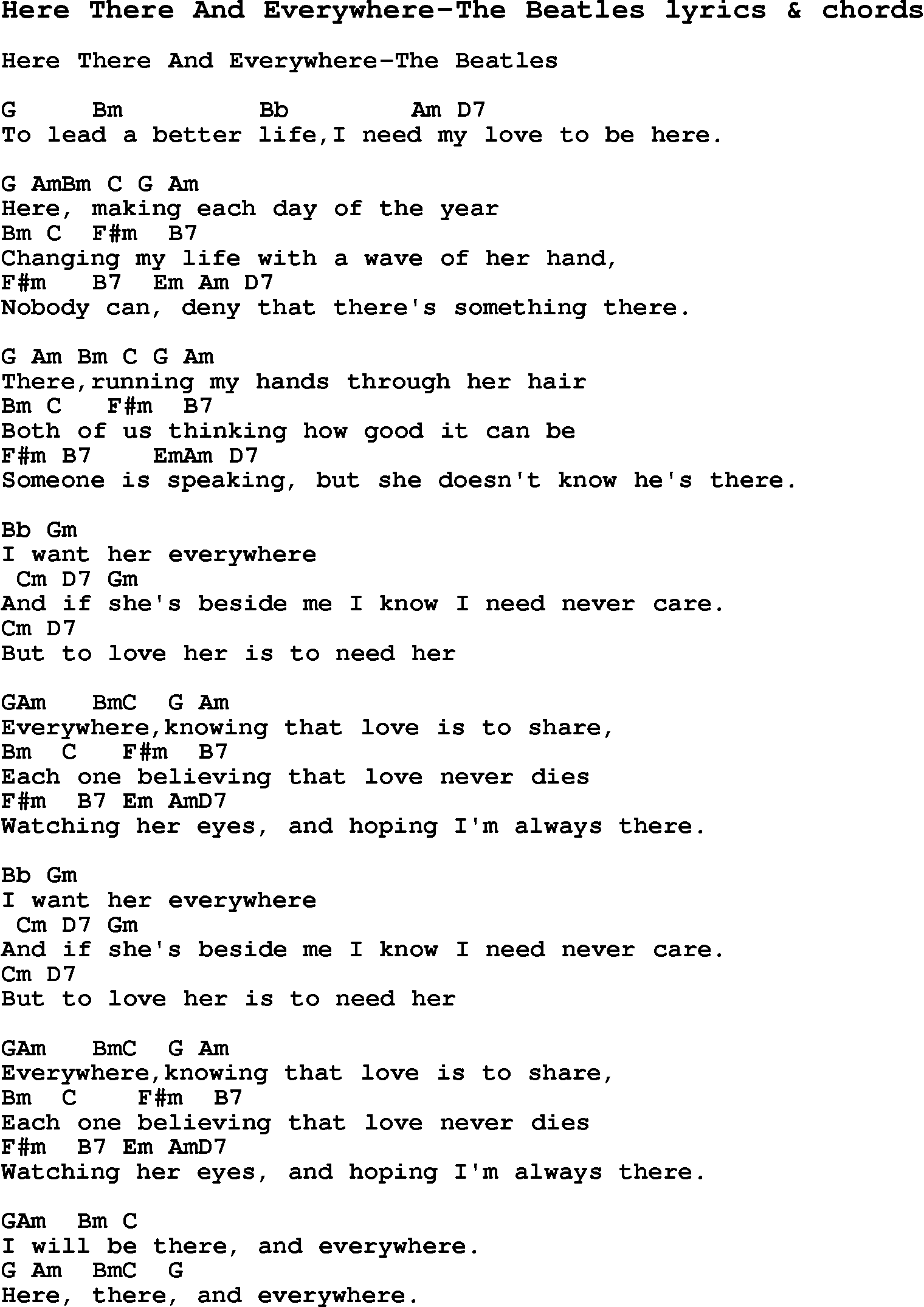Love Song Lyrics For Here There And Everywhere The Beatles With