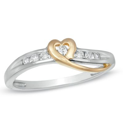 014 CT TW Diamond Heart Ring in 10K TwoTone Gold Peoples