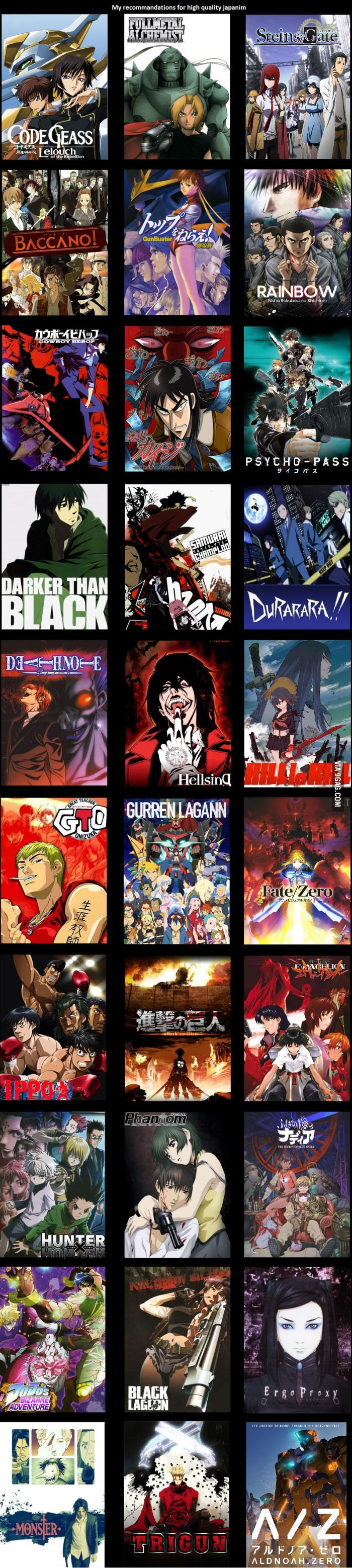 I heard 9gag wants more anime. Here is a subjective list of awsomeness