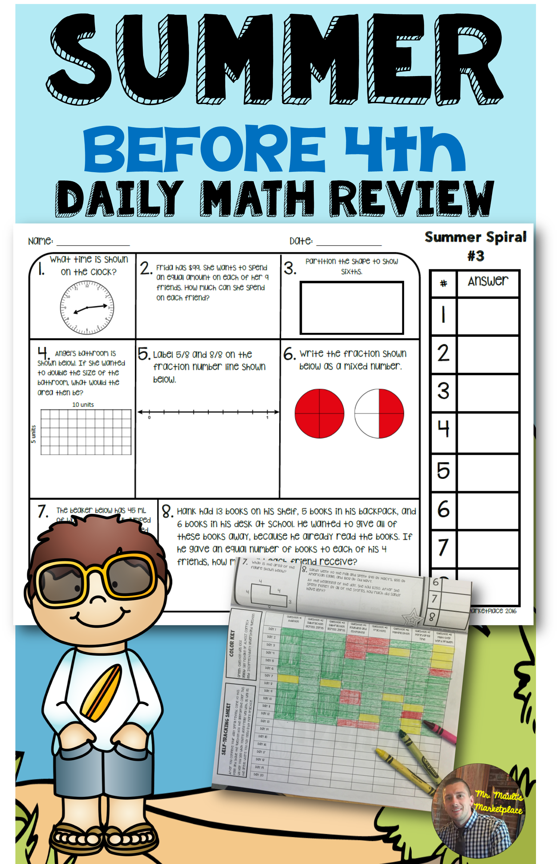 Summer Before 4th Math Spiral Review Daily Math For 3rd