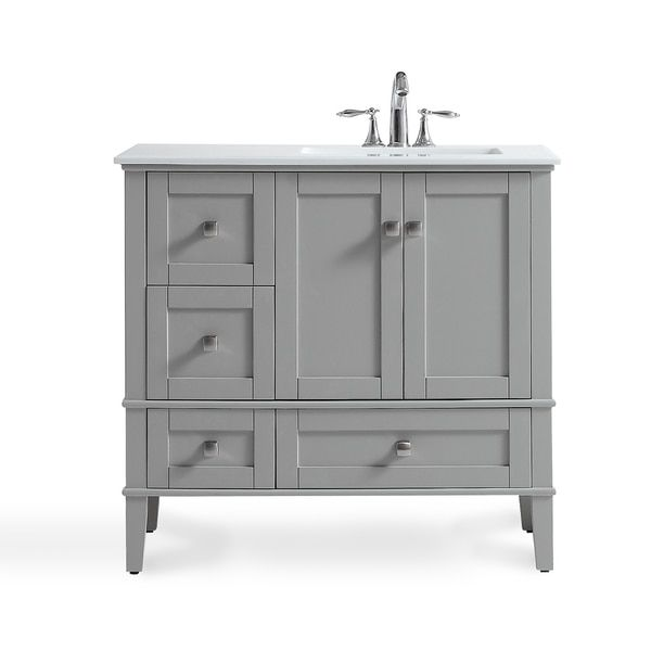 WYNDENHALL Windham Grey 36-inch Offset Bath Vanity with White Quartz