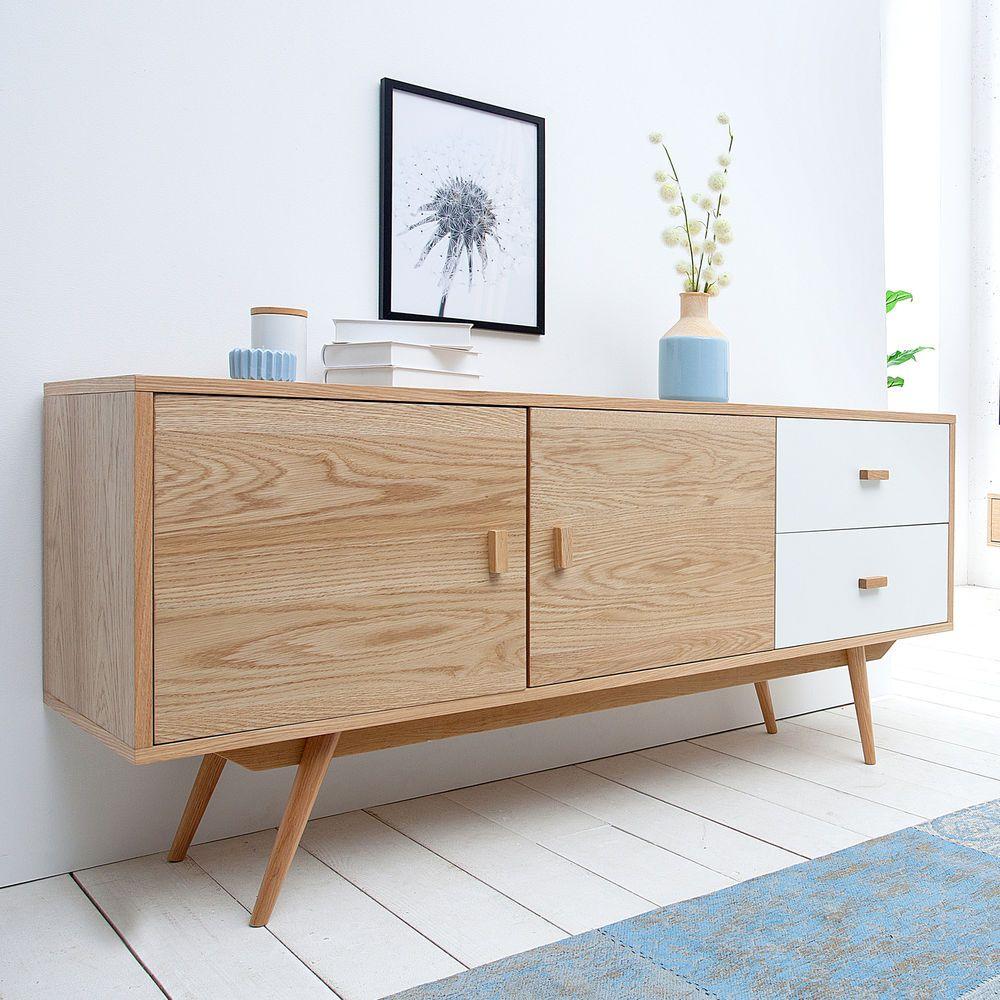 stylisches echt eiche sideboard hyke 150cm skandinavisches. Black Bedroom Furniture Sets. Home Design Ideas