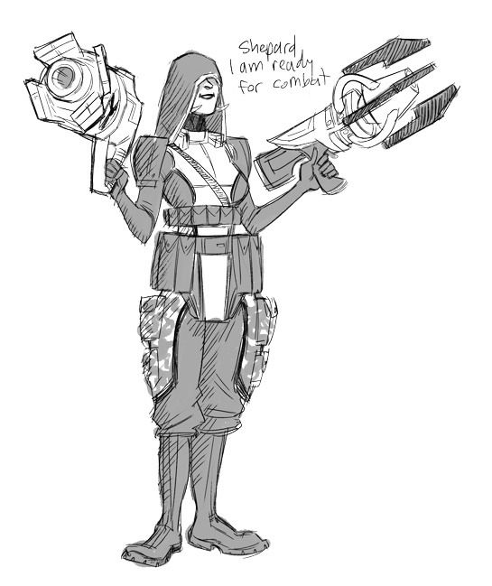 """EDI in combat gear """"a pouch for every gun yes"""""""