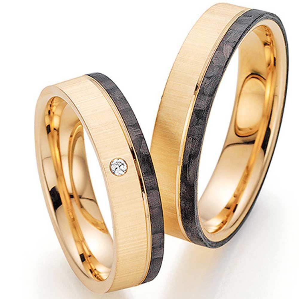 Ringpaar 9988455 Aus Roségold Mit Brillant Und Carbon Ringladen De Ehering Rotgold Eheringe Trauringe