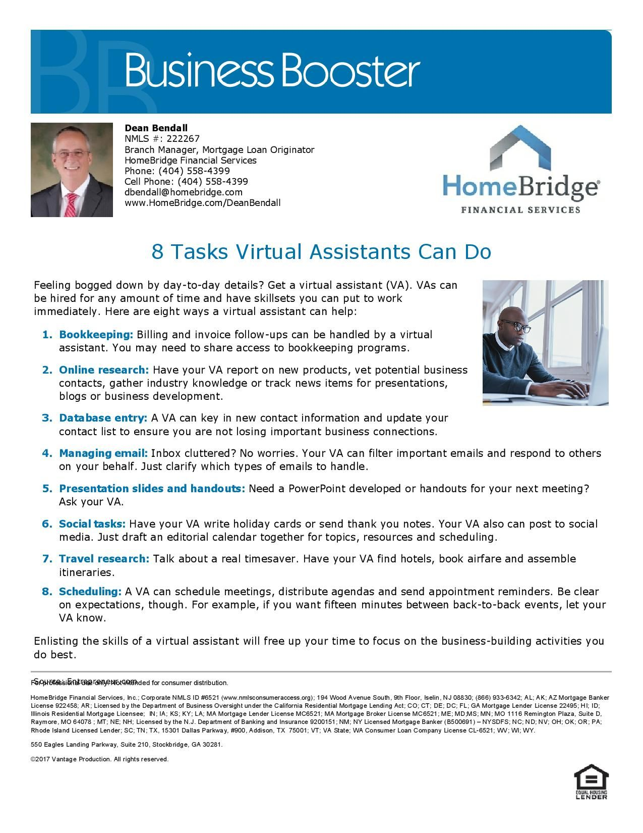 Tasks Virtual Assistants Can Do! | Inside Lending | Mortgage