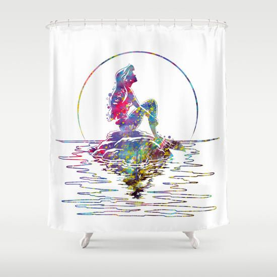 The Little Mermaid Ariel Silhouette Watercolor Shower Curtain By Bitter Moon