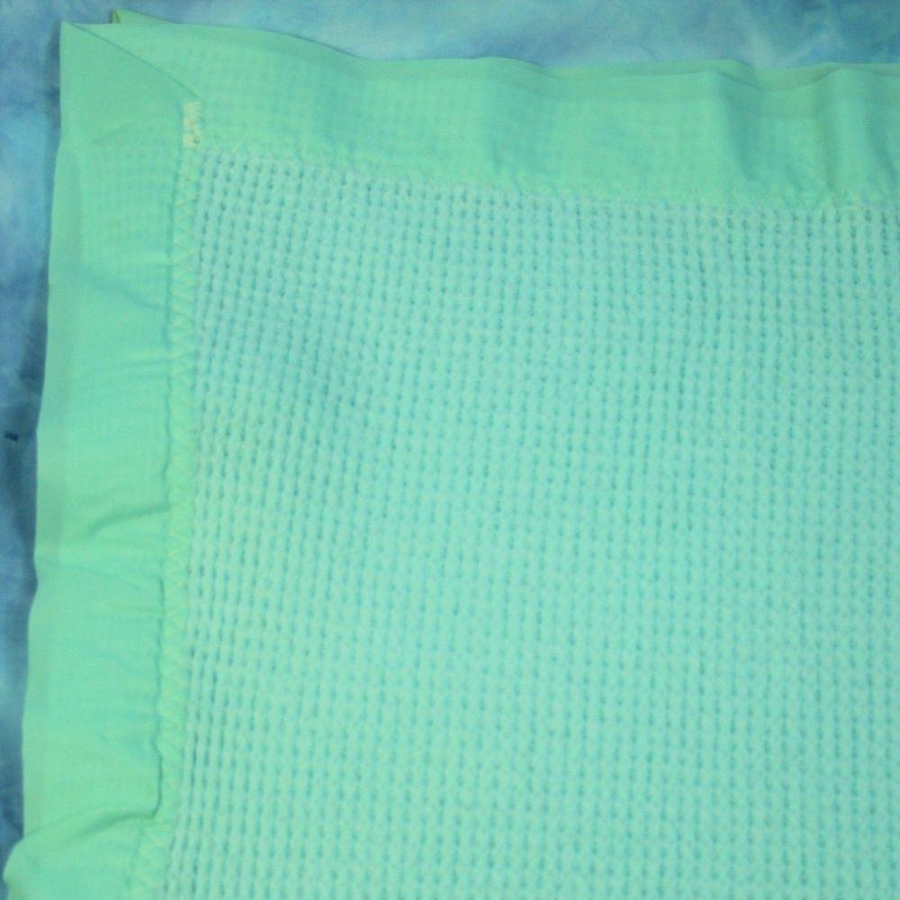 e2e143ba760ec Vintage BABY MORGAN Aqua Mint Thermal Blanket NYLON TRIM Soft Waffle Weave  USA  BabyMorgan