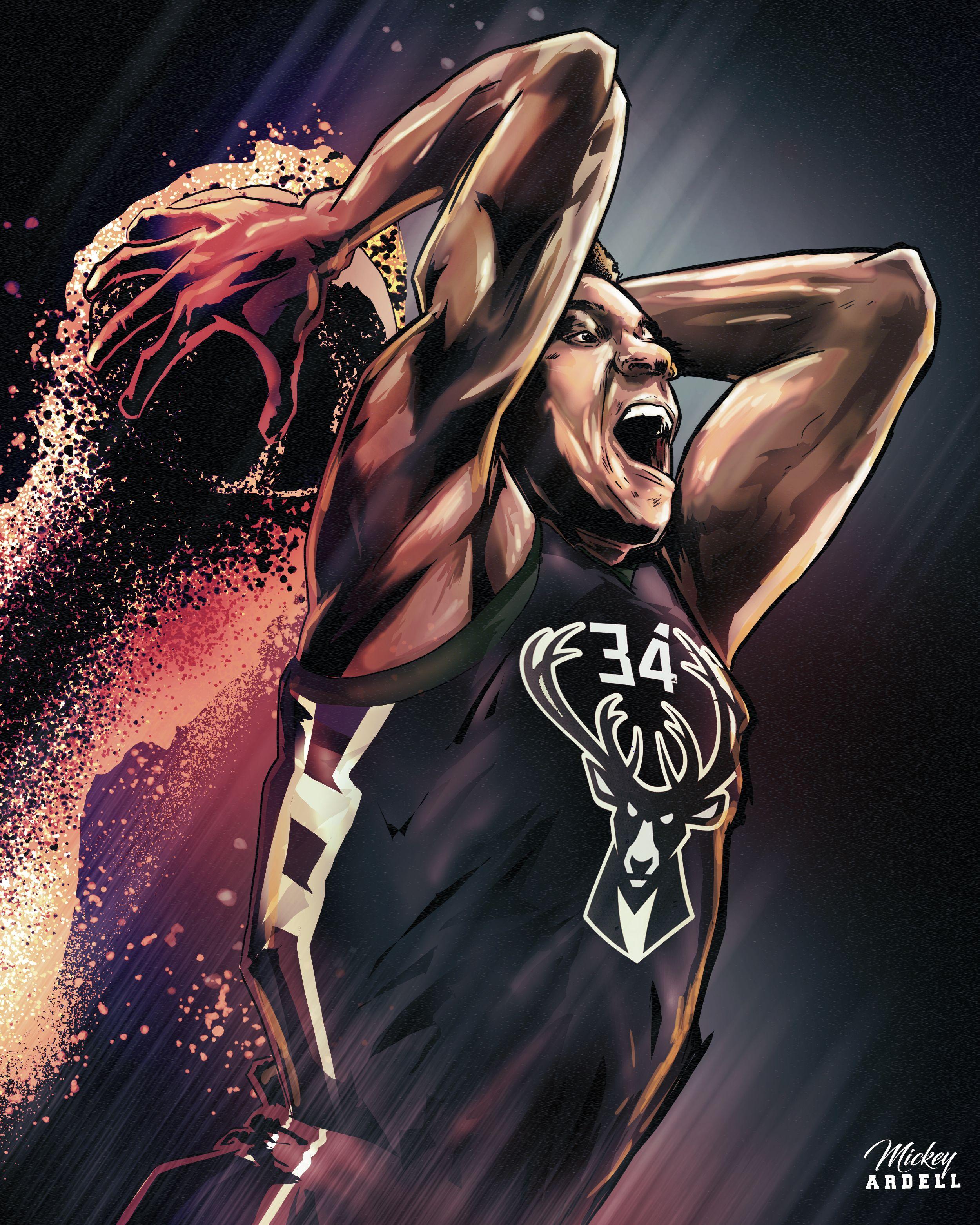 Giannis Antetokounmpo Milwaukee Bucks Nba Art Nba Art Nba Basketball Art Mvp Basketball