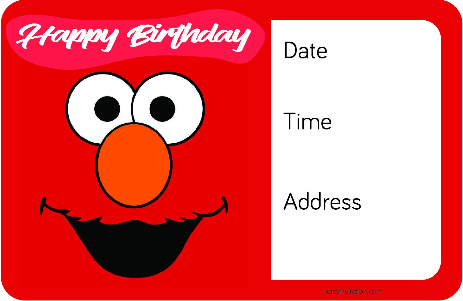 Awesome FREE Printable Elmo Birthday Invitation Template FREE