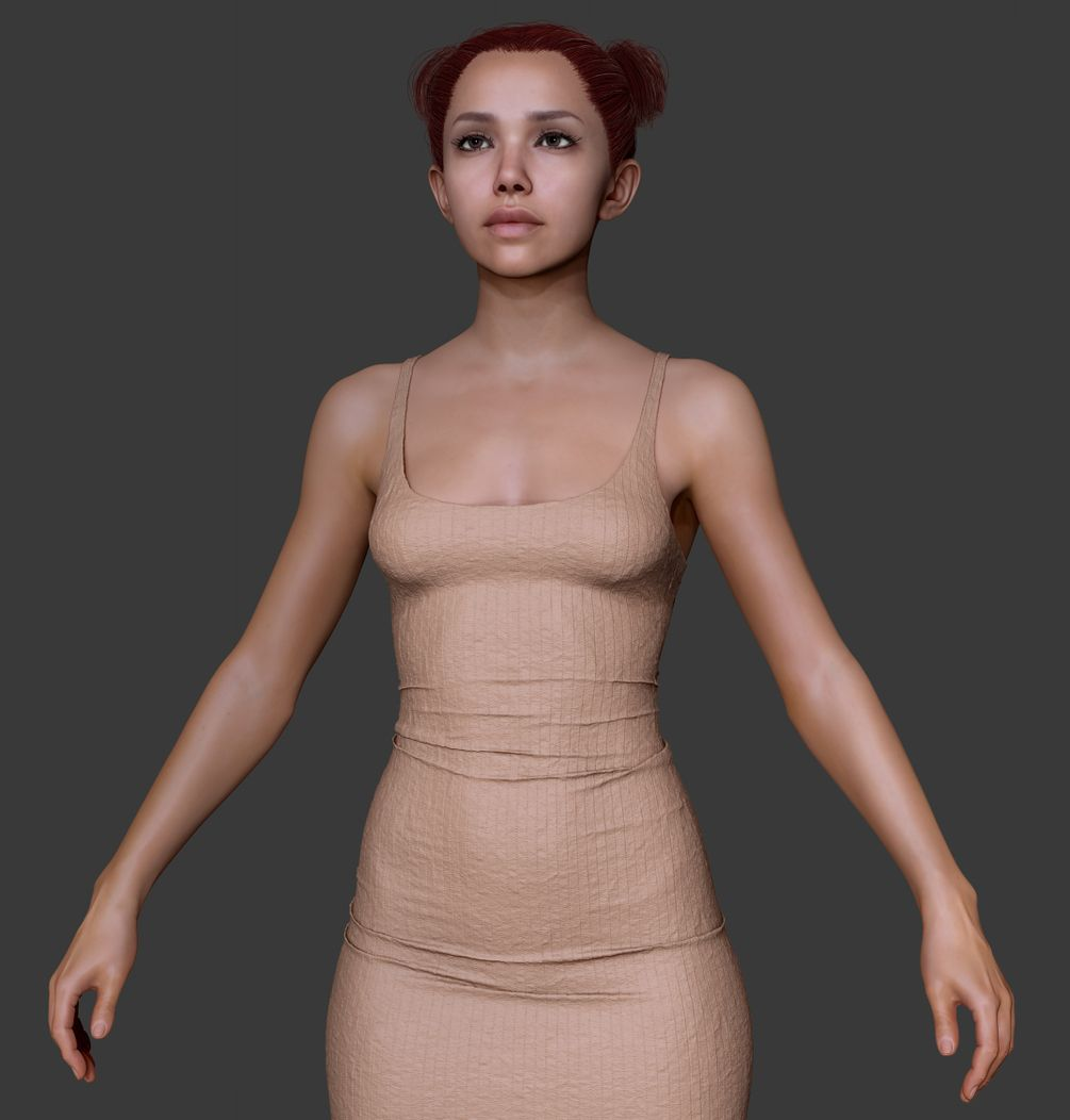 Redhair Girl Body Basemesh | Girl body, ZBrush and Drawings