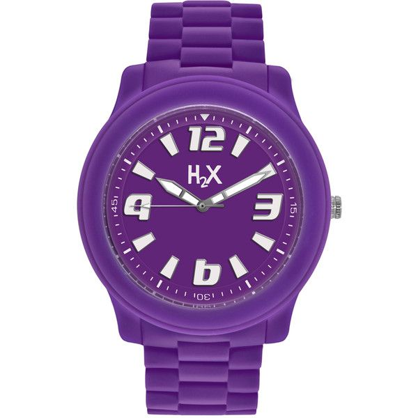 Haurex H2X Womens Splash Purple Watch (630 MXN) ❤ liked on Polyvore featuring jewelry, watches, purple, buckle watches, crown jewelry, buckle jewelry, analog watches and purple jewelry