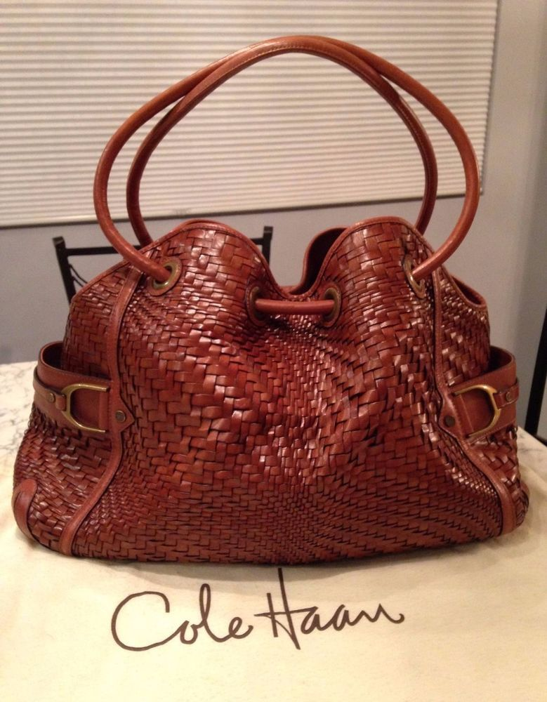 Cole Haan Genevieve MINT Woven Leather Saddle Weave Tote Shoulder Hand Bag Purse #ColeHaan #TotesShoppers ABSOLUTELY GORGEOUS!!! MINT/ LIKE NEW CONDITION!!! BEAUTIFUL SADDLE BROWN / COGNAC BROWN WOVEN LEATHER DENNEY WEAVE BAG!!! VERY RARE IN THIS COLOR, SIZE AND AMAZING CONDITION!!! SALE!!! WOW!!!