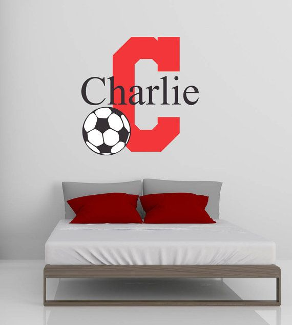 Soccer Vinyl Wall Decal Monogram And Name Soccer Mom Pinterest - Monogram vinyl wall decals for boys