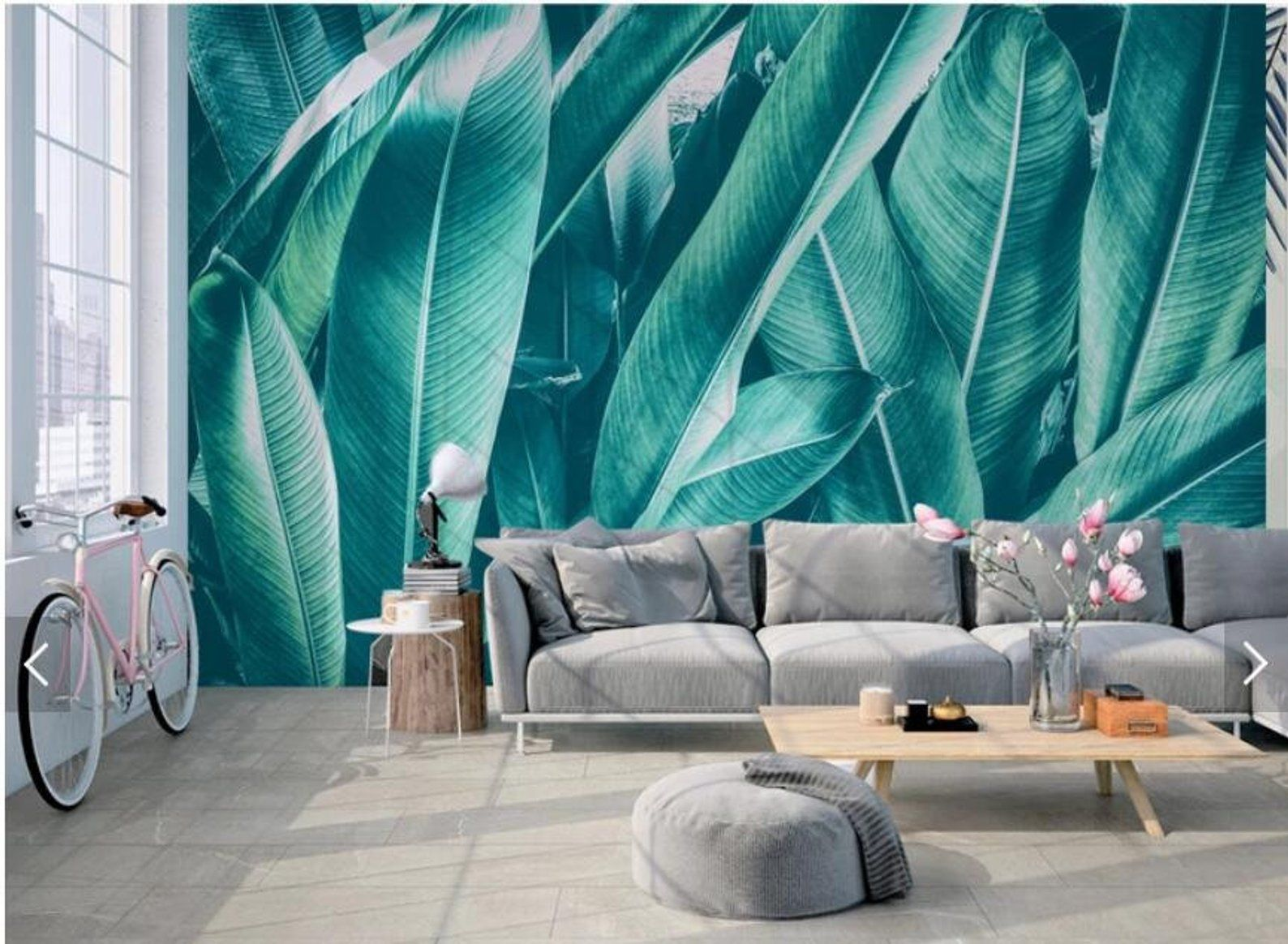 Best Nordic Green Banana Tropical Leaves Wallpaper Jungle Wall 400 x 300