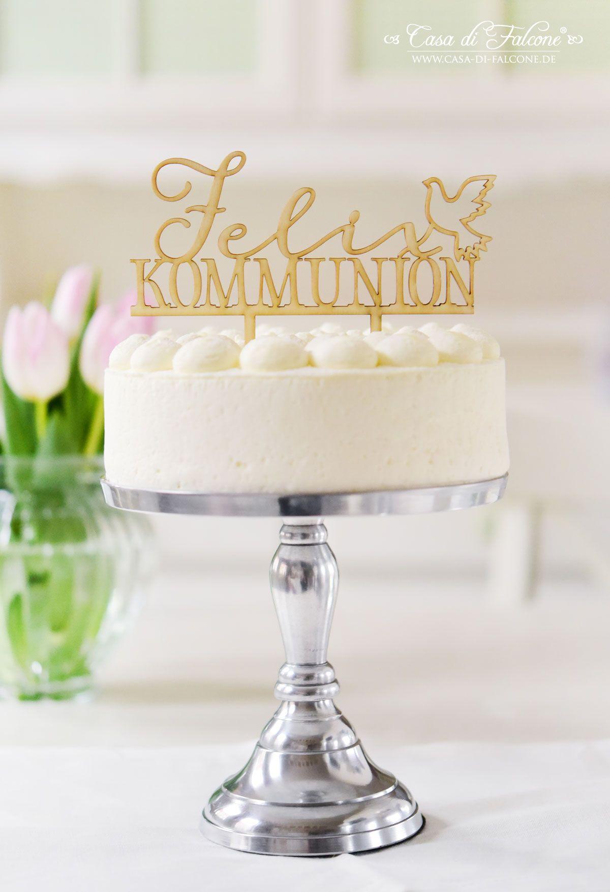 Der Personalisierte Cake Topper Mit Namen Und Einer Taube Sieht Auf Kommunions Oder Konfirmationstorten Ganz Zaub Kommunion Torte Kommunion Konfirmationstorte
