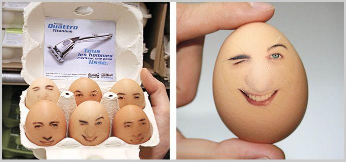 凄すぎて脱帽する!世界の斬新なアイデア広告12選: 04.ツルツルフェイス  「この髭剃りを使うと卵のようにツルツルになっちゃうよ!」