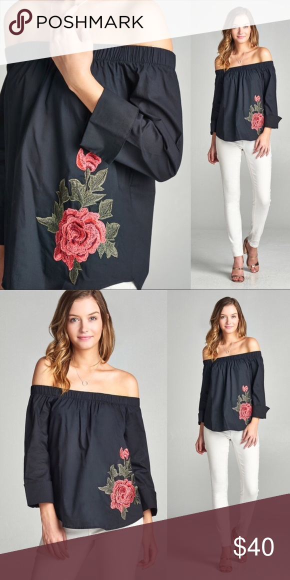 ee82a9c571f Black off the shoulder embroidered top Cute off the shoulder top, black  with red rose embroidery. Great for transitioning into fall! WILA Tops  Blouses