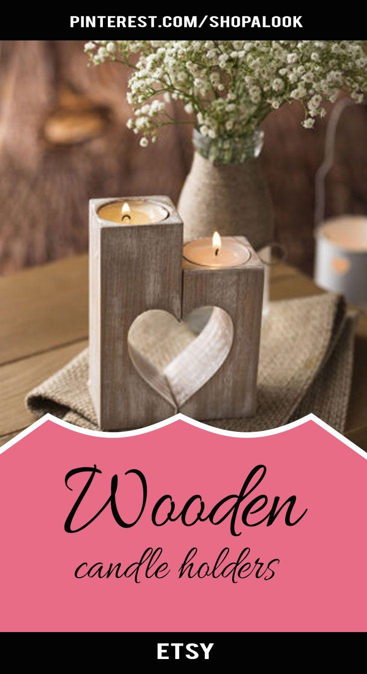 Wooden heart candle holders #afflink #weddingideas #wedding ...