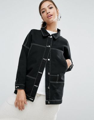 Daisy Street Longline Denim Jacket With Contrast Stitching