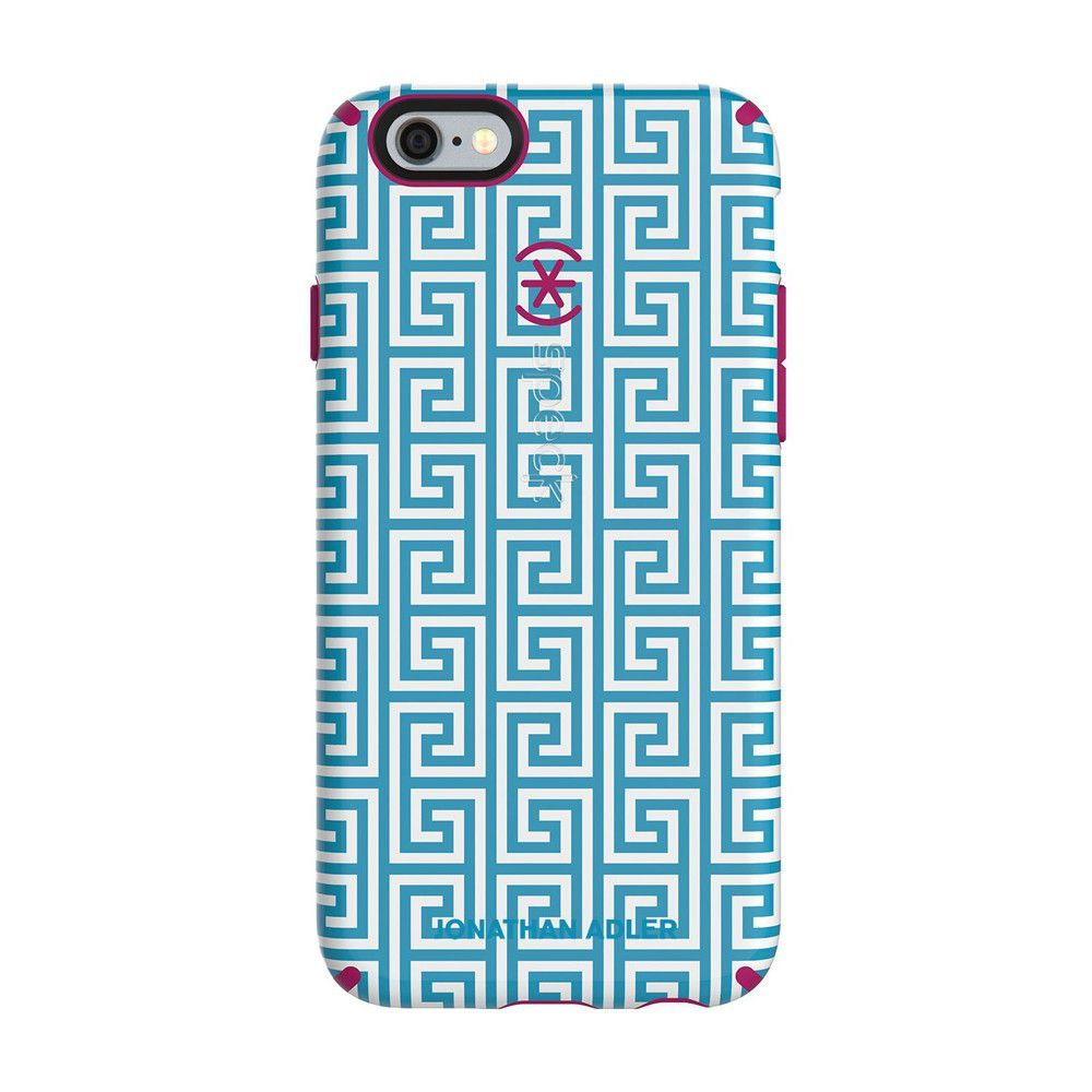 Speck iPhone 6/6s CandyShell Inked Johnathan Adler - Aqua Greek Key / Lipstick Matte