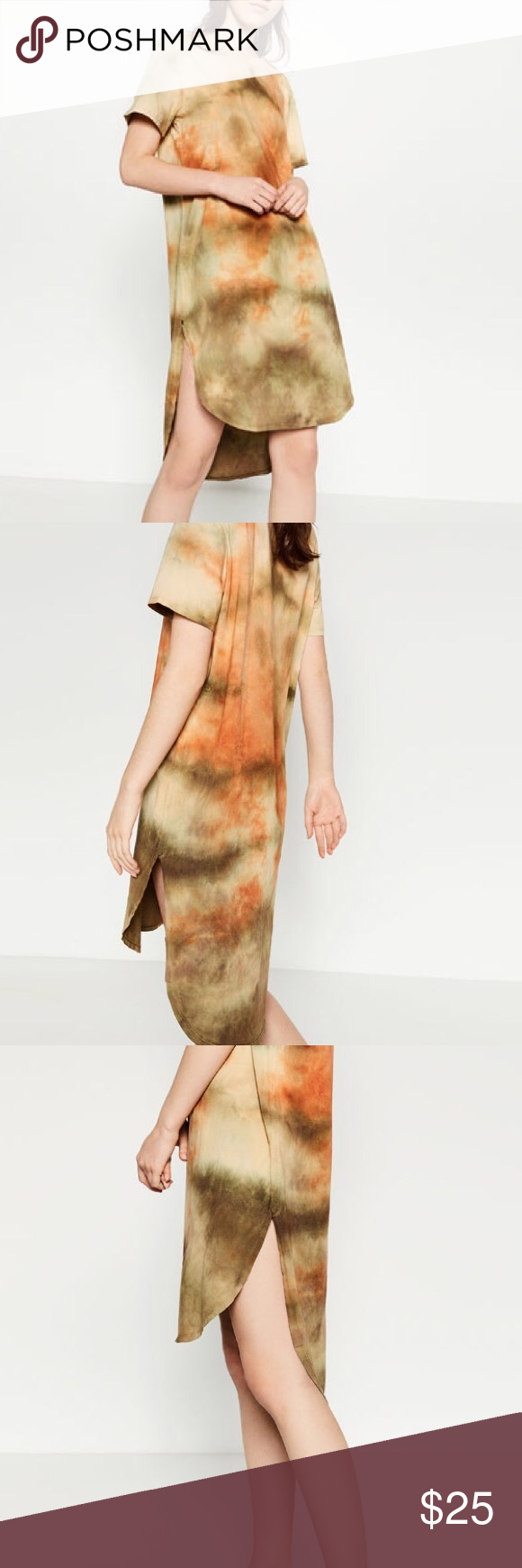 zara tie dyed t shirt dress pinterest layering shirts green