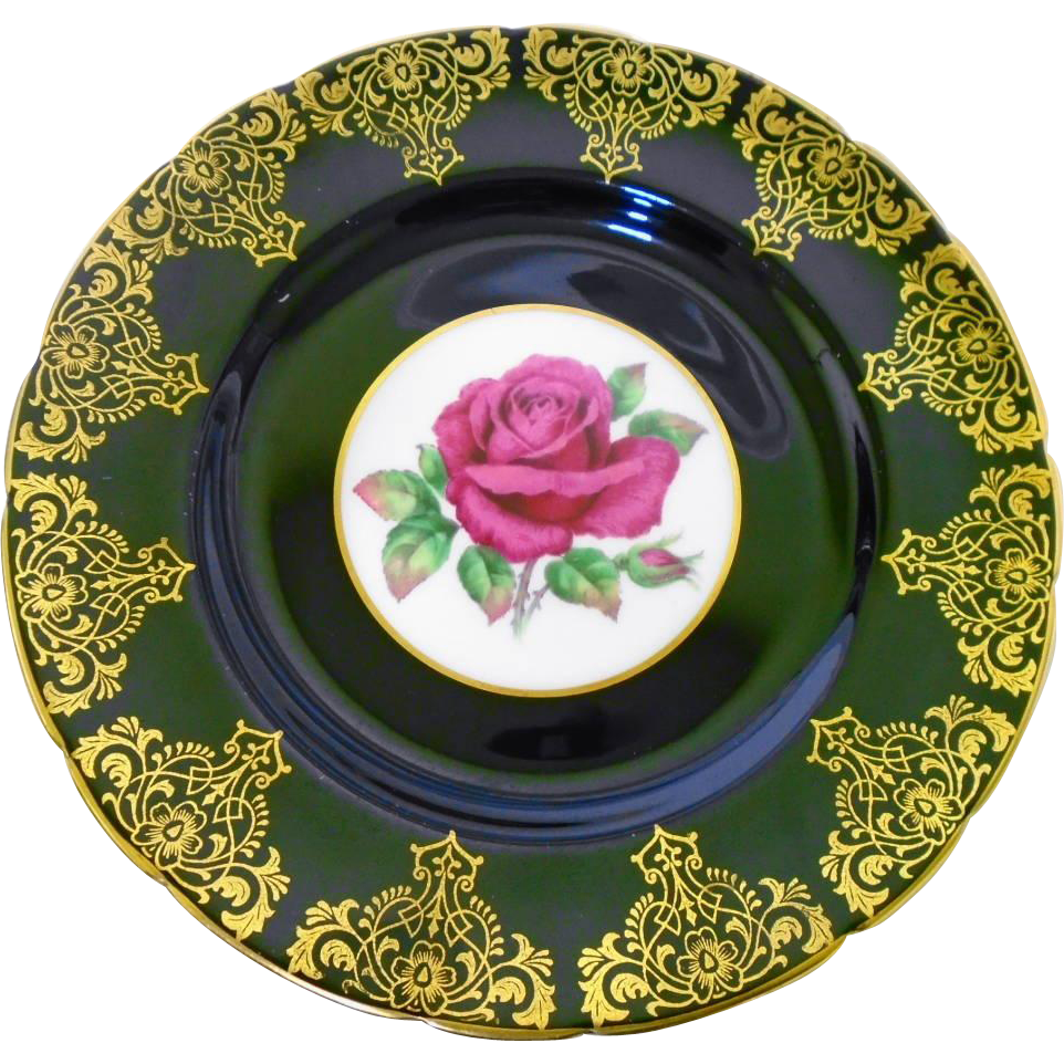 Paragon china made in England Fancy gold gilt glossy black plate with large floating red rose center. Gold trim is  sc 1 st  Pinterest & Pin by Veronica on Antique Plates China and Pottery | Pinterest ...