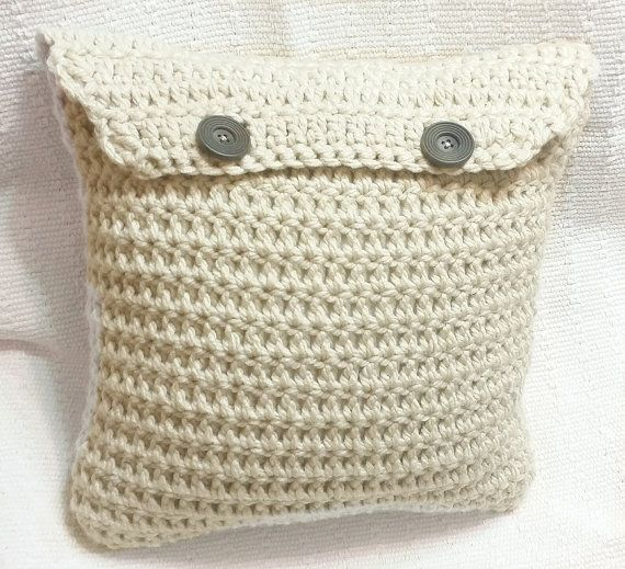 Crochet Throw Pillow  neutral white extra chunky by BeehiveCrochet